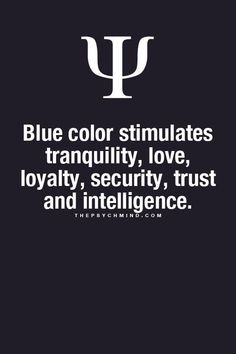 blue color stimulates tranquility, love, loyalty, security, trust and intelligence.