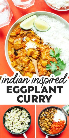 This Aubergine Curry or (Eggplant Curry) is an easy recipe that uses straightforward ingredients and is ready in under an hour. Perfect for two! #aubergine #eggplant #curry #vegan #vegetarian #indian #dinner Vegetarian Lunch, Vegetarian Recipes Dinner, Vegan Dinners, Aubergine Curry Recipe, Eggplant Curry, Curry Recipes, Asian Recipes, Healthy Recipes, Delicious Recipes