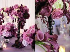 #purple #lavender #ivory #black #indoor #wedding #reception #tablescape #floral #arrangement #flower #decor #table #centerpiece #KarenTranEvents