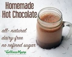 Deliciously sweet homemade hot chocolate made with real food ingredients! #cleaneating #paleo #dairyfree