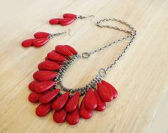 Red coral bib necklace and earrings