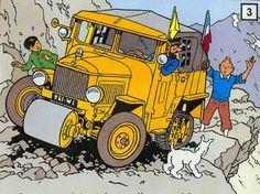 Half-track truck possibly Citroën Car Illustration, Illustrations, Captain Haddock, Herge Tintin, Comic Art, Comic Books, Ligne Claire, Fox Terrier, Art Graphique