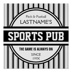 Funny Personalized Custom Bar Sign Sports Pub Posters