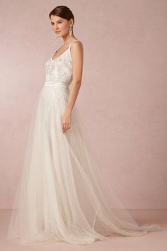 Elsa Gown from BHLDN at Anthropologie with tulle skirt