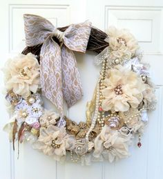 shabby wreath cottage wreath Christmas wreath floral wreath shabby chic wall decor burlap and lace wreath by DownSouthChicDecor on Etsy https://www.etsy.com/listing/208156246/shabby-wreath-cottage-wreath-christmas