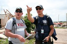 A member of Team Rubicon And AmeriCorps St. Louis discuss the scene following the tornado that struck Moore, OK