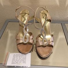 Nina Gold Satin Rhinestone Sandals Worn twice. Very good condition Nina Shoes Sandals