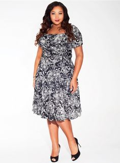 8b9c6e58d99 Tiffany Dress in Raven Fleur Plus Size Fashionista