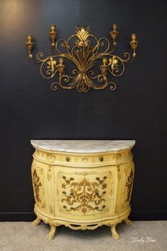 hand decorated louis xv french country demilune chest console server foyer table