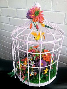 Quilled Bird Cage - All Things Paper by Licia Politis Origami And Quilling, Paper Quilling, Diy Paper, Paper Art, Paper Crafts, Diy Bird Cage, Paper Birds, Plant Hanger, Wedding Table