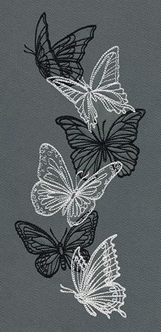 Flight & Dark Butterflies - Vertical Border   Urban Threads: Unique and Awesome Embroidery Designs This design is lightly stitched and is suitable for all fabrics, including t shirts.