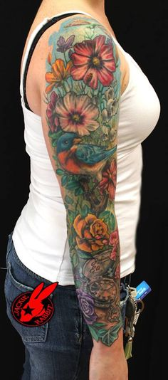 garden flower tattoos | Flower Garden Sleeve Tattoo by Jackie Rabbit by jackierabbit12 on ...