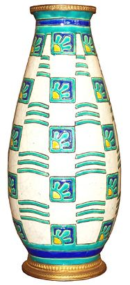 """Charles CATTEAU Art Deco Vase. An exceptional Faience vase by Charles Catteau (1880-1966) for Boch Freres made in 1925. Measuring 13 ¼ high, the vase has an ormolou foot and rim. Marked with the Boch seal and """"D 951"""" and """"Ct."""", the vase features cobalt blue, turquoise and yellow on a white craqueleure ground. (hva)"""