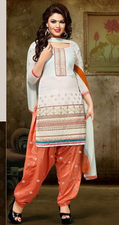 Chanderi Silk #Resham Work Cream Semi Stitched #Patiala Suit - 123 at Rs 1170 #anarkalionline #onlinesuits #partywear #partywearsuits  #StayTrendyWithIndiaRush #StayTrendy