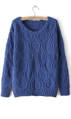 Pure color diamond pattern  linen knitted sweater dark blue