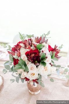Wedding table decor ideas - centerpiece, romantic, roses, flowers, red, pink {Emily Marcella Photography} Burgundy And Blush Wedding, Blush Wedding Flowers, Blush Bridal, Tent Wedding, Fall Wedding, Wedding Reception, Wedding Table, Romantic Weddings, Real Weddings