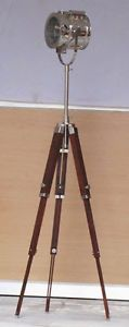 Retro Nautical Marine Home Spot Studio Electric Search Light Tripod Floor Lamps Height : 178 cm , front dia : 21 cm, ear to Ear : 27.5 , front to back : 20 cm