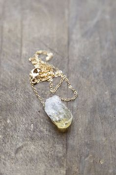 Raw Citrine Necklace Gold and Citrine Pendant by AmuletteJewelry, $64.00