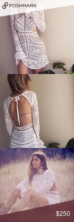 For Love and Lemons White Lace Open Dress Rare FL&L dress, worn once for a photoshoot and featured in FL&L instagram. No Low balls. Absolutely no flaws like new. Size S (fits XS too). For Love and Lemons Dresses Mini