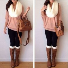 Sweater, scarf, leggings, socks, boots and bag.