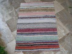 For the floor in a small rustic bathroom Antique Rag Rug  Ecru Black Cerulean Greens by VintageHomeStories,