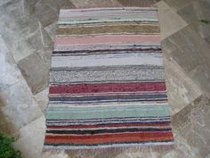 For the floor in a small rustic bathroom Antique Rag Rug  Ecru Black Cerulean Greens by VintageHomeStories,