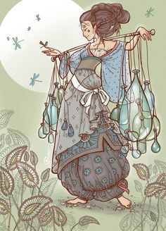 Ksenia Federova - Glass Merchant - I like both the layering and the hair styling in this illustration
