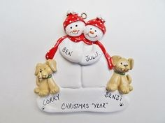 personalized snow couple ornament with 2 tan dogs christmas dog christmas couple couples
