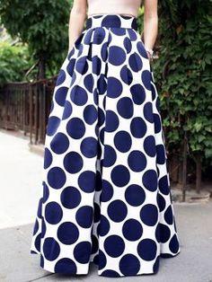 Shop White Contrast Polka Dot Print Maxi Skirt from choies.com .Free shipping Worldwide.$32.99