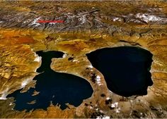Satelite view - The  source near Mt Kailash The source near Mt Kailash  where there are two large freshwater lakes - Manasarovar to the east and Rakshastal to the west. The Ganges and other rivers also arise here.