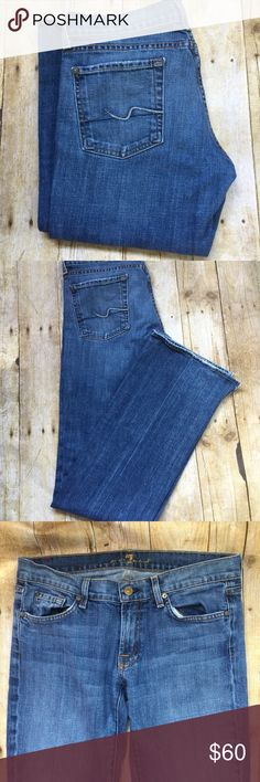 7 for all mankind wide leg jeans 7 for all mankind wide leg jeans. In a great condition with side slits on the bottom as pictured above. It has some fray on the hem of the jeans. In a great condition. Inseam: 34, length: 41.5. Open to reasonable offers. Thank you 7 For All Mankind Jeans Flare & Wide Leg