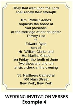Christian Wedding Invitation Wording Quotes
