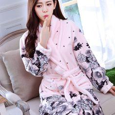 39541cfcec New Women Coral Fleece Sleepwear Sexy Kgurumi Winter Autumn Warm Bathrobe  Nightgown Kimono Dressing Gown Robe For Lady