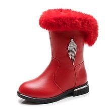 689acf9886 Children Boots Fur Plush Velvet Boots Girls Winter Warm Shoes Mid-Calf Felt Boots  Kids