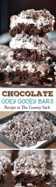 Chocolate Ooey Gooey Bars - The Gunny Sack A recipe for Chocolate Ooey Gooey Bars that everyone will love.with brownies on the bottom, marshmallow cream in the middle and Cocoa Pebbles Bars on top. Brownie Recipes, Cookie Recipes, Dessert Recipes, Easy Desserts, Delicious Desserts, Yummy Food, Barres Dessert, Ooey Gooey Bars, Yummy Treats