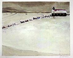 Artiste : Jean-Paul Lemieux  Nom de l'oeuvre : L'Église de Péribonka    Grandeure : 46 cm x 56 cm  Année : 1981  Médium : Photolithographie