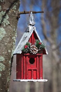 57 Ideas Homemade Bird Houses Painted For 2019 Birdhouse Craft, Gourds Birdhouse, Birdhouse Designs, Bird Houses Painted, Bird Houses Diy, Fairy Houses, Christmas Thoughts, Christmas Bird, Christmas Home