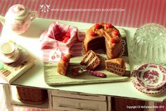 Chocolate Cherry Cake Board 1/12 scale dollhouse miniature - BIRTHDAY RANGE 58E