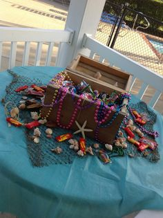 """Treasure chest the girls made for a Sweet Sixteen """"Under the Sea"""" party."""