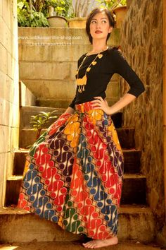 Batik Amarillis Made in Indonesia- Love the colors/pattern in skirt but it's much too long for me. Would love this exact pattern mid calf, knee length, or slightly above the knee.