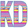 Kappa Delta. I love the chevron/patterns in the letters with the purples, pinks, and yellows. Get a fun pattern designed for your sorority letters!