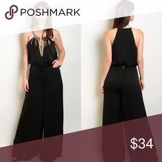 Black Sleeveless Fringe Necklace Wide Leg Jumpsuit New with tags. This woven jumpsuit features a gathered waistline, blouson bodice, wide legged pants, and an attached gold fringe statement necklace.                                                                       🌸100% polyester.                                                            🌺PRICE IS FIRM UNLESS BUNDLED.                         ❌SORRY, NO TRADES. Boutique Pants Jumpsuits & Rompers