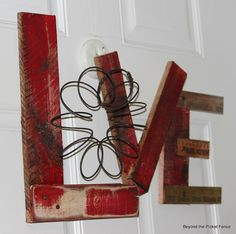 Valentine Decor / Craft ~ door hanging rather than wreath - wood scraps, ruler section, old spring ~ Beyond The Picket Fence: A Little More Love Valentine Decorations, Valentine Day Crafts, Holiday Crafts, Farm Decorations, Vintage Valentines, Rustic Crafts, Wood Crafts, Diy Crafts, Pallet Crafts