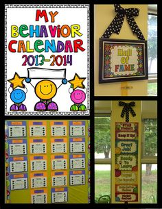 Use clip chart, record each student's color at the end of the day on their own calendar.  When they have 5 stickers (for moving all the way up the chart), display on the Hall of Fame.