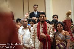 Indian Barat Photo at Park Ridge Marriott along with Mandaps by Dhoom, Make up artist Jyoti, DJ Suj, Chand Palace and Nobility Events. - Gujarati Bride and South Indian Groom, Mixed Wedding. Best Wedding Photographers - PhotosMadeEz Featured in Maharani Weddings