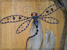 Beaded dragonfly insect art wire