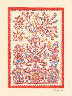 Древо жизни Марина Федорова Russian Embroidery, Folk Embroidery, Russian Culture, Russian Art, Dashing Through The Snow, Coffee And Books, Illustrations And Posters, Textile Art, Illustrators