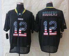 2014 Nike Green Bay Packers 12 Aaron Rodgers USA Flag Fashion Black Elite Jerseys $ 22.5