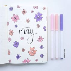 Flower Drawings Bullet journal monthly cover page, May cover page, flower drawings. Bullet Journal Tracker Ideas, Key Bullet Journal, Bullet Journal Planner, Bullet Journal Writing, Bullet Journal Cover Page, Bullet Journal Aesthetic, Bullet Journal School, Bullet Journal Ideas Pages, Bullet Journal Layout