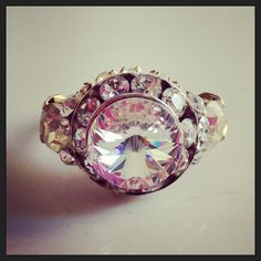 Vintage button adjustable ring by D. Wallace Designs.